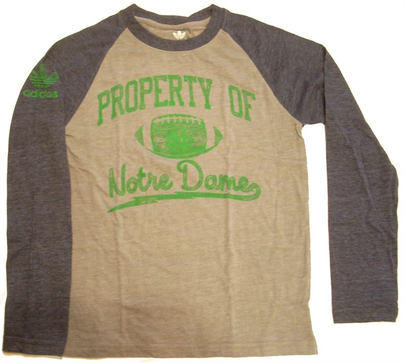 Notre Dame Youth Vintage Raglan Long Sleeve From Adidas's Vault Collection