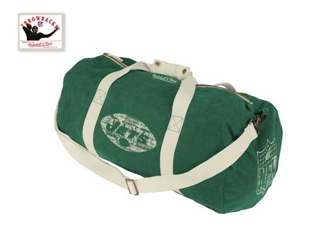New York Jets Vintage Canvas Duffle Bag By Mitchell and Ness