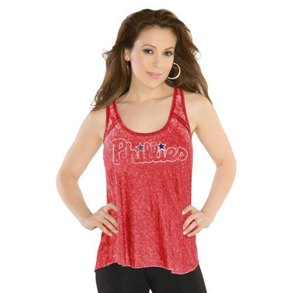 Phillies Womens Triple Play Tank Top By Alyssa Milano