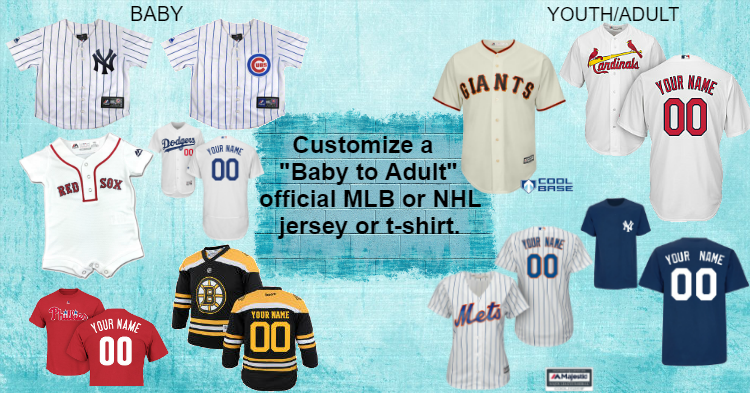 Personalize Official Professional Baseball Team Newborn, Infant, Toddler and Kids size  Jerseys