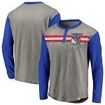 New York Rangers Henley Long Sleeve T-Shirt