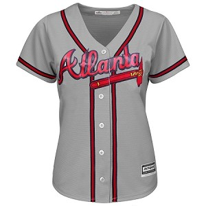 Braves Womens Personalized Road Grey Jersey