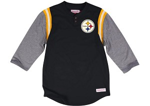 Steelers Henley Shirt By Mitchell And Ness
