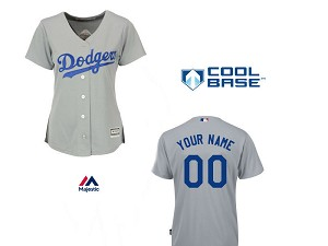 Dodgers Womens Personalized Grey Road Jersey