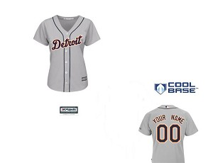 Detroit Tigers Womens Personalized Grey Jersey