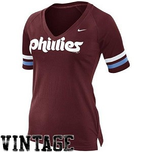 Phillies Womens Maroon Cooperstown Vintage Top